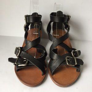Madewell Whistlestop Black Leather Wedge Sandals
